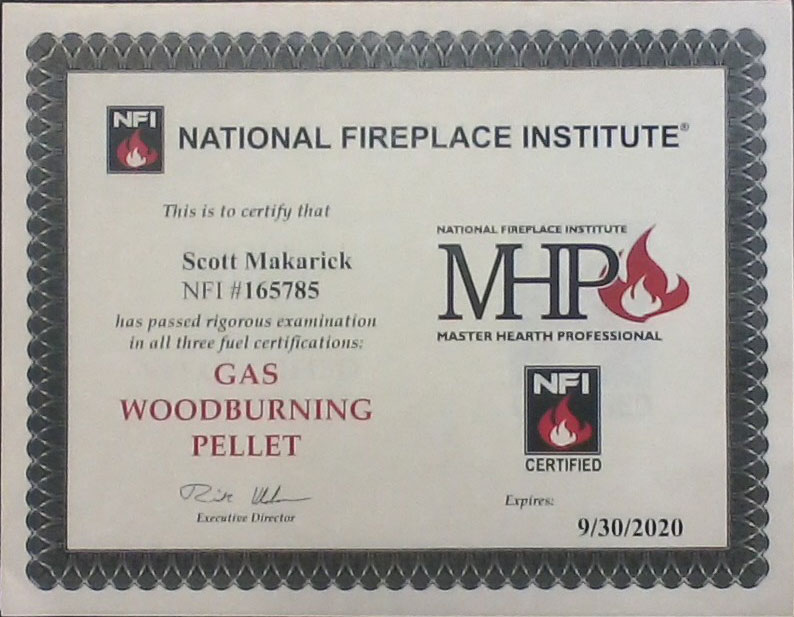 National Fireplace Institute Certificate